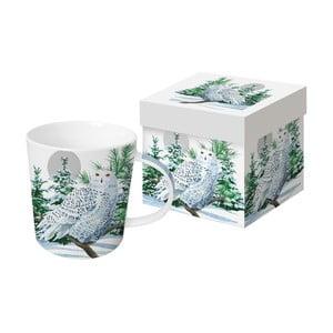 Hrnek z kostního porcelánu s vánočním motivem v dárkovém balení PPD Snow Owl, 350 ml