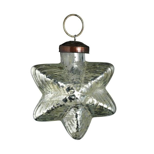 Set šesti skleněných ozdob Hvězda, 7 cm, antique, stříbrná