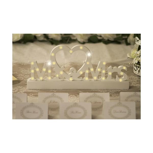 Svatební dekorace na stůl s LED světly Mr. & Mrs.