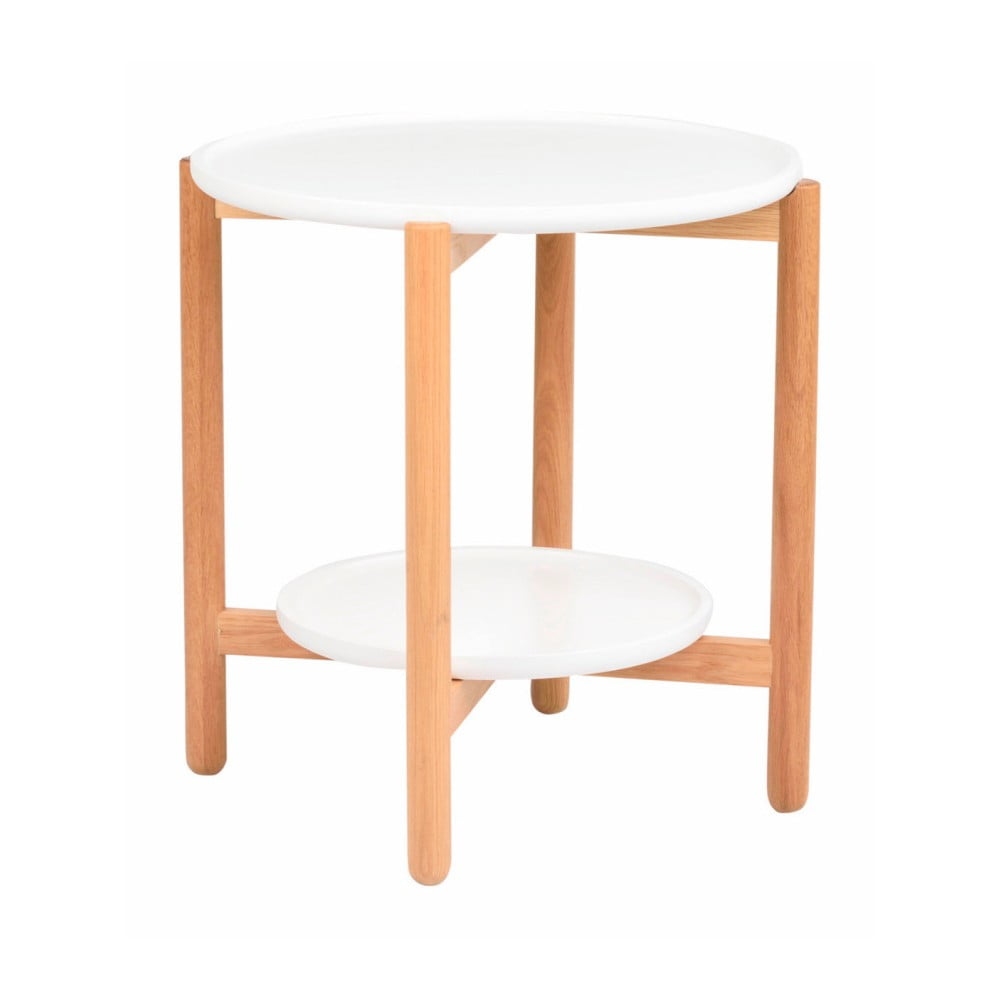 Bílý dubový stolek Folke Wendigo, ⌀ 55 cm