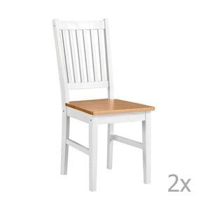 Sada 2 bílých jídelních židlí z masivního dřeva 13Casa Ginger