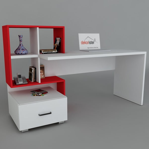 Pracovní stůl Bloom White/Red, 60x120x73,8 cm