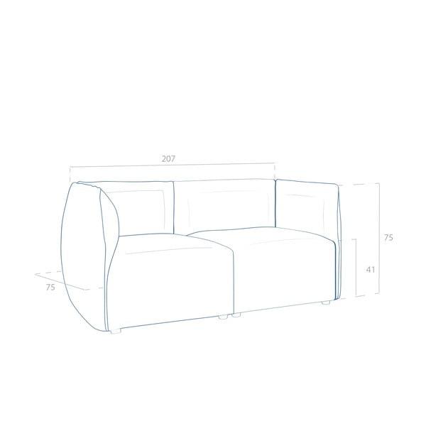 Béžová pohovka pro dva Vivonita Cube Sawana