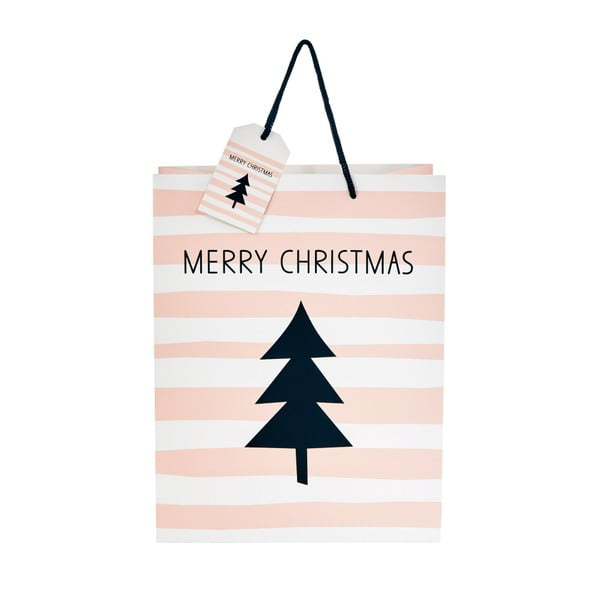 Pungă de cadou Butlers Merry Christmas, înălțime 13,5 cm, roz deschis