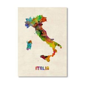 Plakát s pestrobarevnou mapou Itálie Americanflat Art, 60x42cm