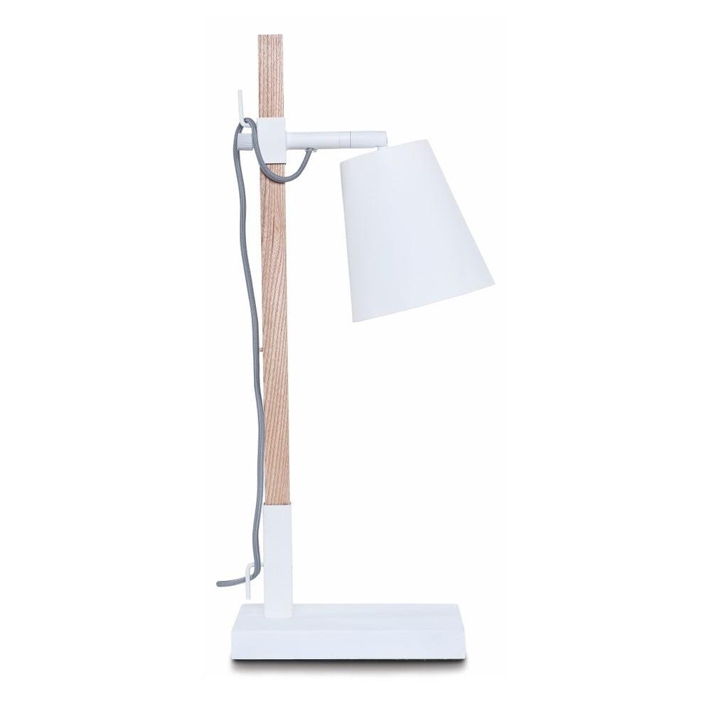 Bílá stolní lampa s konstrukcí z jasanu Citylights Sydney