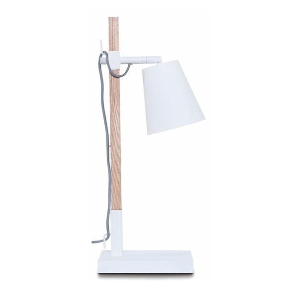 Sydney fehér asztali lámpa, kőrisfa állvánnyal - Citylights