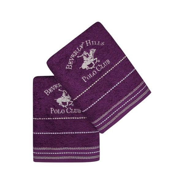 Sada 2 fialových ručníků na ruce Polo Club, 50x90cm