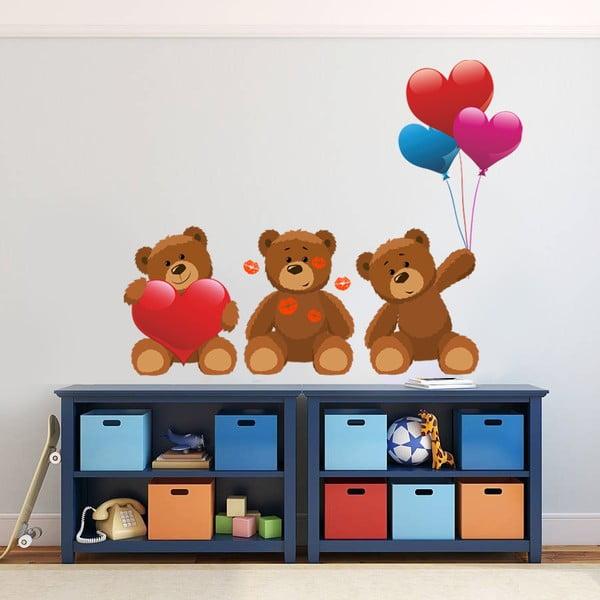 Samolepka na stěnu Tři medvídci, 60x90 cm
