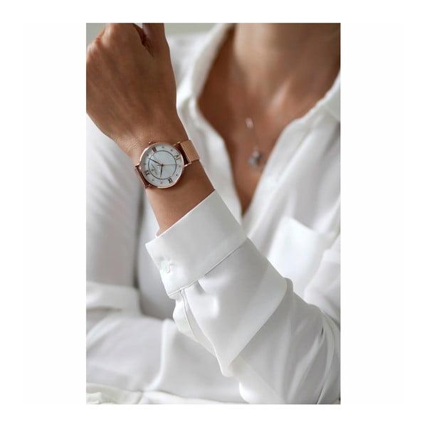 Dámské hodinky s výměnným páskem z nerezové oceli ve růžovozlaté barvě a pravé kůže Frederic Graff Monte