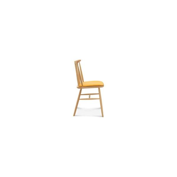 Dřevěná židle se žlutým polstrováním Fameg Amleth