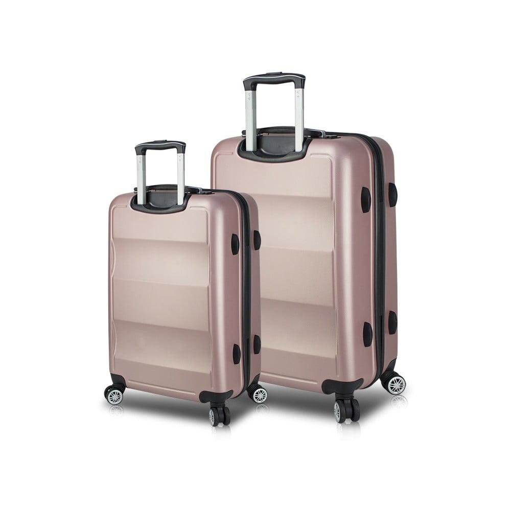 Sada 2 růžových cestovních kufrů na kolečkách s USB porty My Valice LASSO Large & Medium