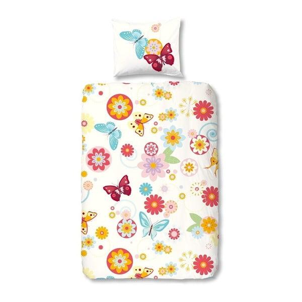 Dětské povlečení z bavlny na jednolůžko Good Morning Flower Butterfly,140x200cm