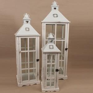 Sada 3 dřevěných luceren Dakls Vintage White