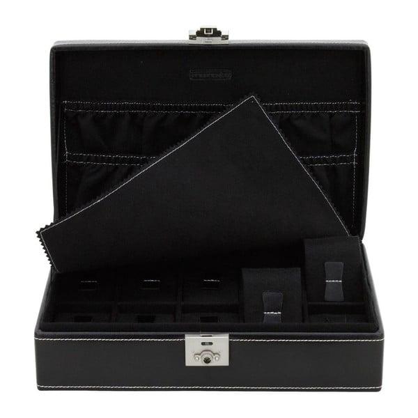 Černý kožený box na 10 hodinek Friedrich Lederwaren London Timeless
