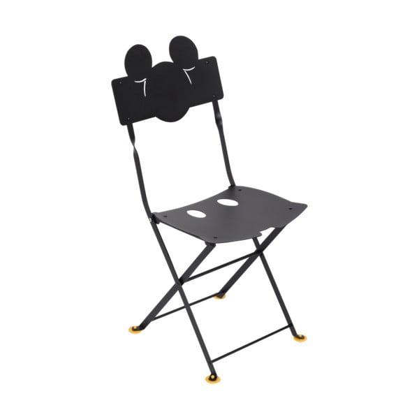 Sada 2 černých dětských kovových zahradních židlí Fermob Bistro Mickey Junior