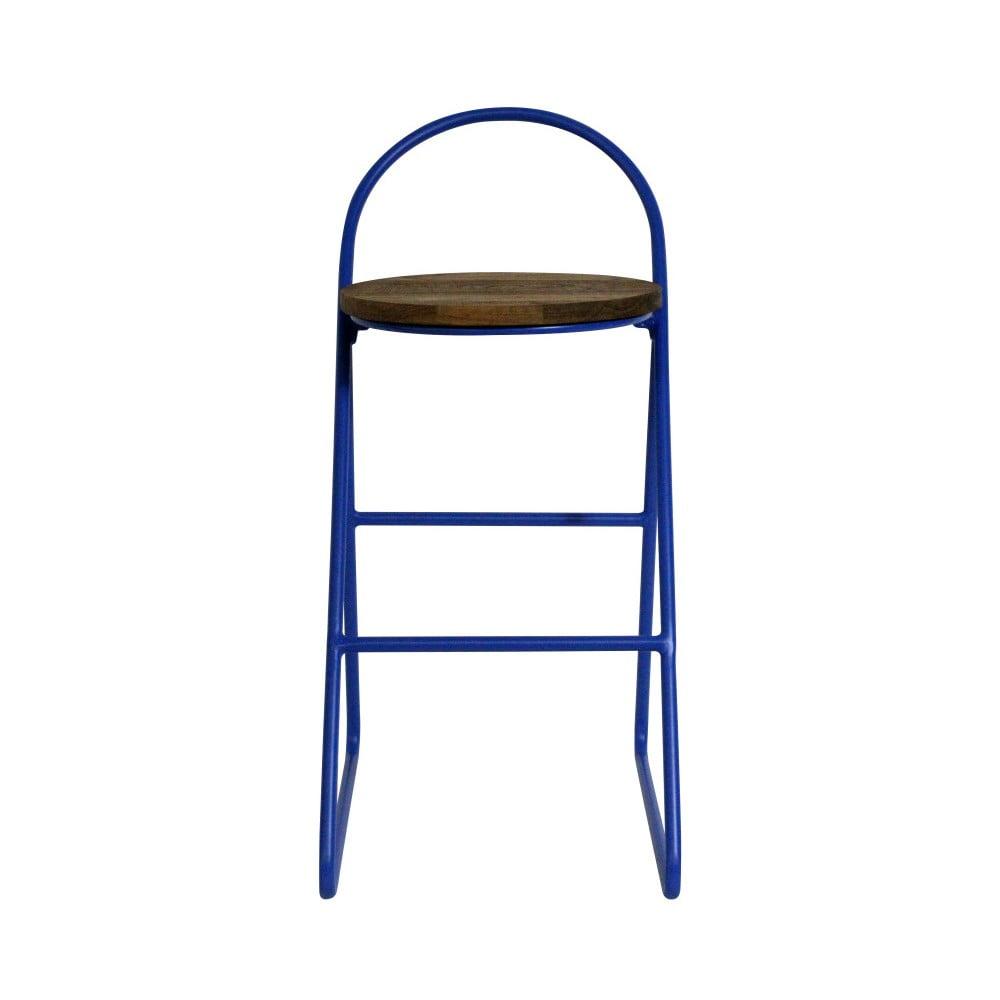 Barová stolička s jilmovým dřevem a modrou kovovou konstrukcí Red Cartel Duke, výška 89cm