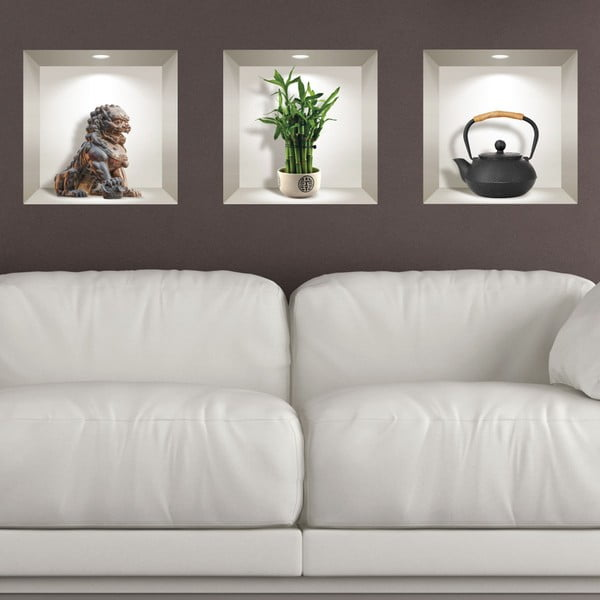 Sada 3 3D samolepiek na stenu Ambiance Japanese Atmosphere