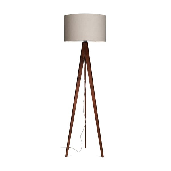 Stojací lampa Artist Grey Linnen/Dark Brown, 125x42 cm