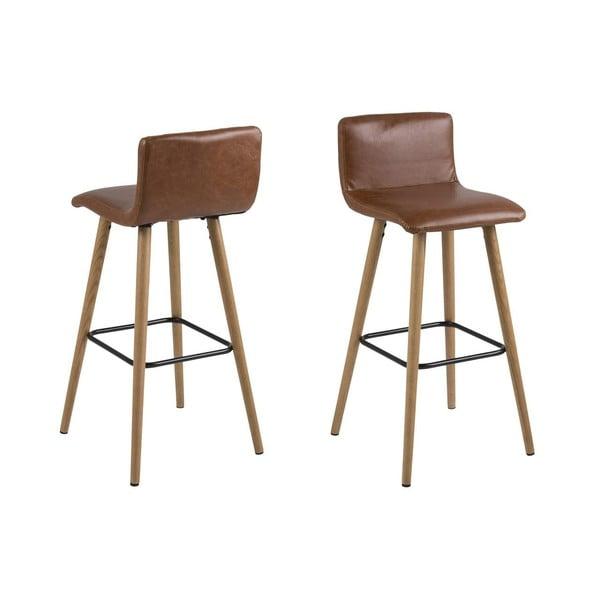 Hnědá barová židle s nohami z dubového dřeva Actona Frida, výška96,5cm