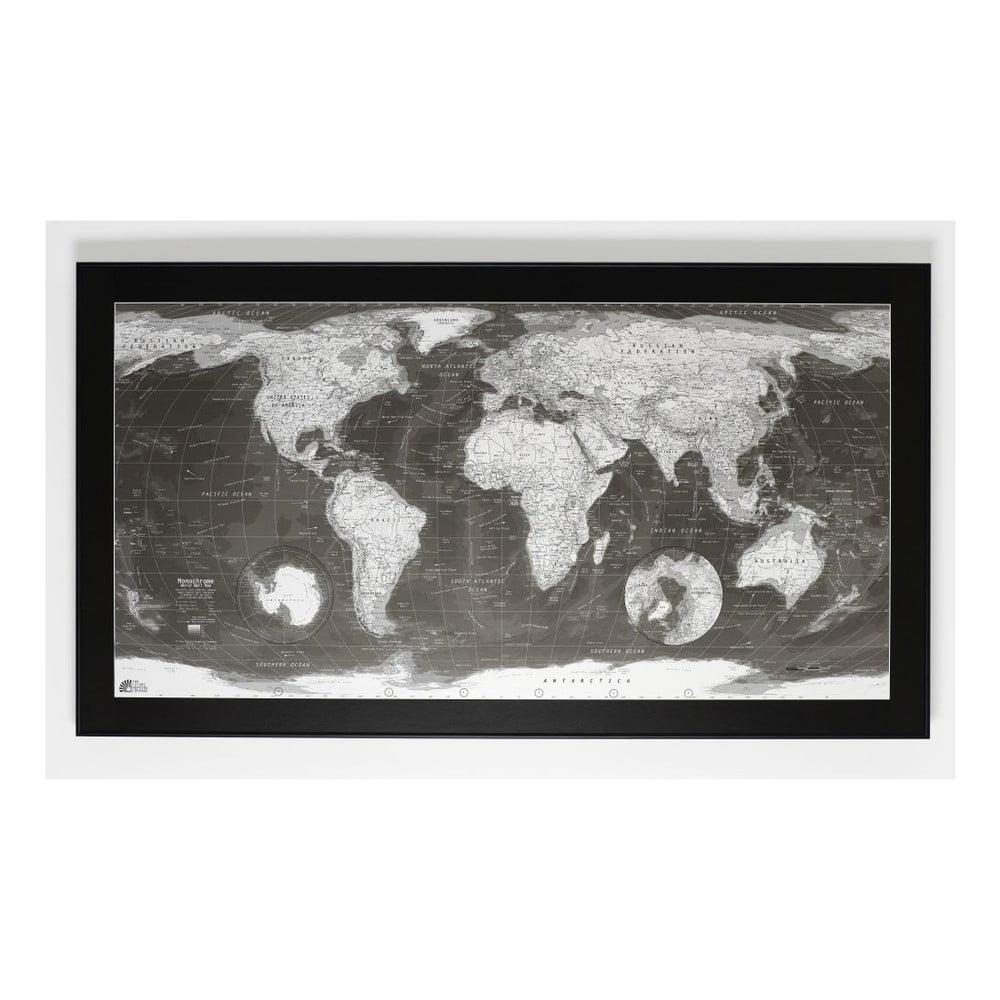 Magnetická mapa světa The Future Mapping Company Monochrome World Map, 130x72cm