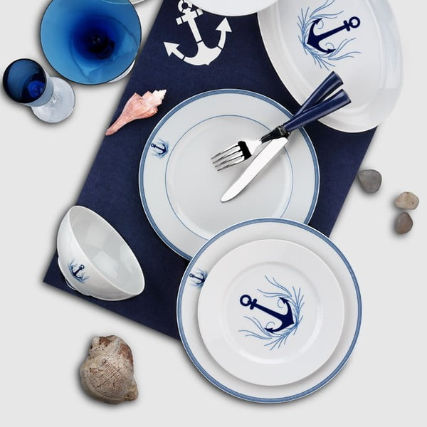 24-częściowy zestaw talerzy porcelanowych Kutahya Fentolo