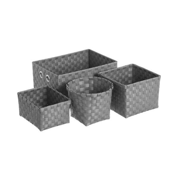 Fekete tárolókosár készlet, 4 db - Unimasa