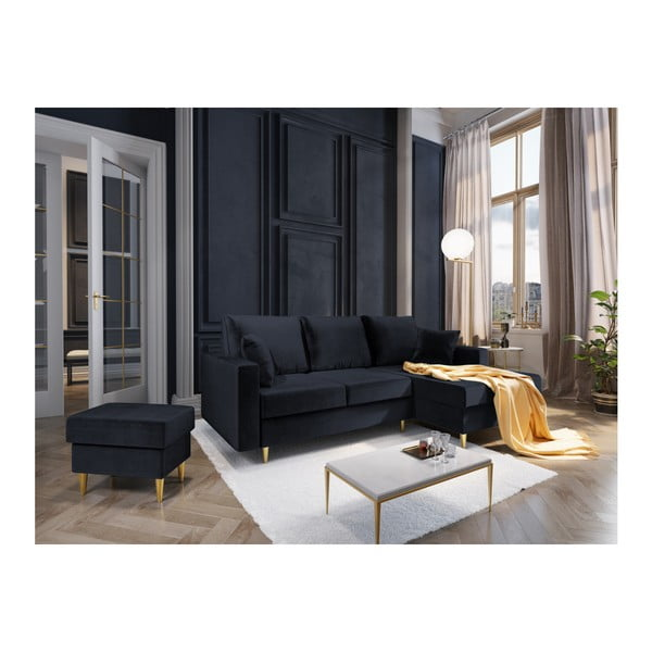 Tmavě modrá čtyřmístná rozkládací pohovka s úložným prostorem Mazzini Sofas Muguet, pravý roh