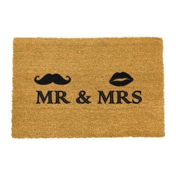 Covoraș intrare din fibre de cocos Artsy Doormats Mr and Mrs, 40 x 60 cm