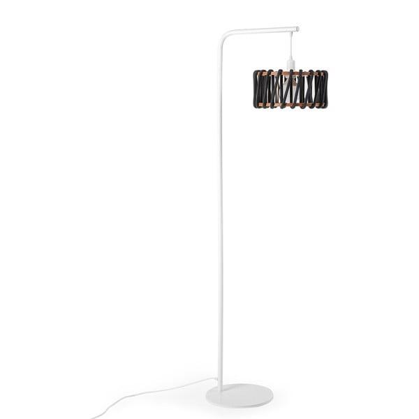 Stojacia lampa s bielou konštrukciou a malým čiernym tienidlom EMKO Macaron