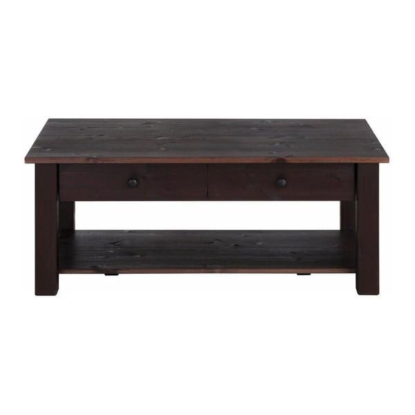 Yvonne sötétbarna, tömör fenyőfa kisasztal, 100 x 60 cm - Støraa