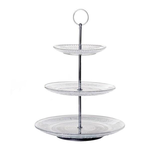 Suport etajat din sticlă pentru prăjituri Unimasa Romance, înălțime 35 cm