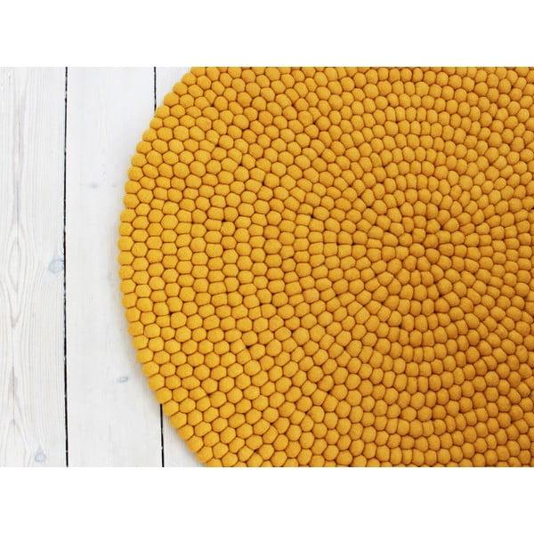 Hořčicově žlutý kuličkový vlněný koberec Wooldot Ball Rugs, ⌀ 90 cm