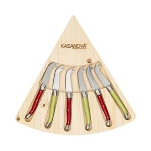 Set 6 nožů na sýr vdřevěném boxu Kasanova Double Tip
