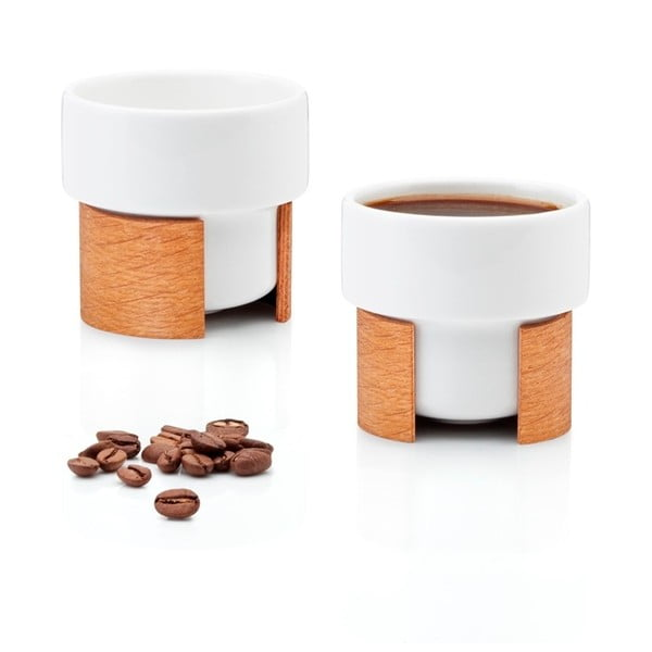 Set hrnků na espresso Warm Oak, 8 cl, 2 ks