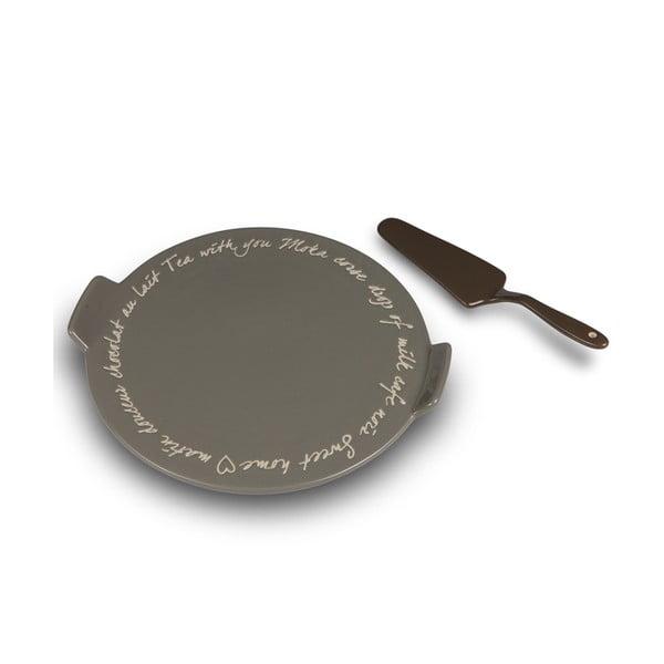 Keramický talíř na dorty se lžící Charme