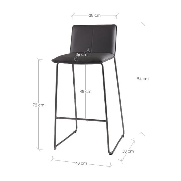 Set 2 scaune de bar sømcasa Lou, gri