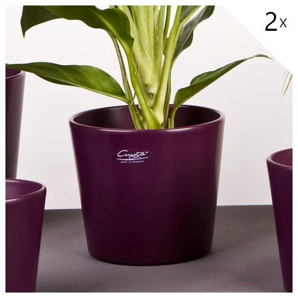 Sada 2 fialových květináčů Matt, 17 cm