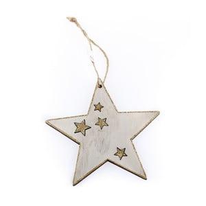 Bílá dřevěná závěsná hvězda Dakls Christmas