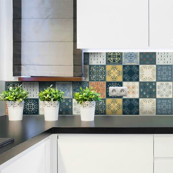 Set 15 autocolante de perete Ambiance Tiles Azulejos Rio Cuarto, 15 x 15 cm de la Ambiance