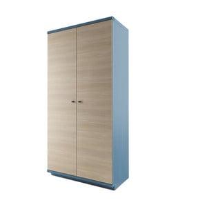 Dulap cu 2 uși din lemn masiv de stejar JELÍNEK Amanta, albastru