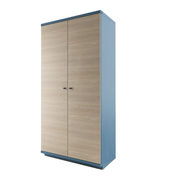 Modrá dvoudveřová šatní skříň z masivního dubového dřeva JELÍNEK Amanta