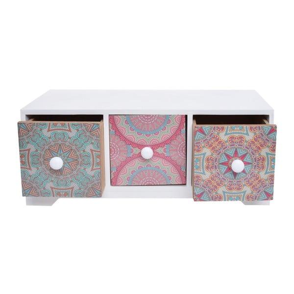 Dřevěná skříňka se 3 šuplíky Ewax Parejo, 30 x 12 x 12 cm