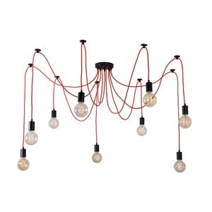Červené stropní svítidlo s9žárovkami Filament Style Spider Lamp
