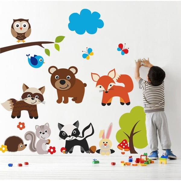 Samolepka na stěnu Medvěd a zvířátka, 90x60 cm