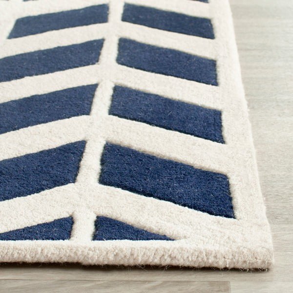 Vlněný koberec Brenna 91x152 cm, tmavě modrý