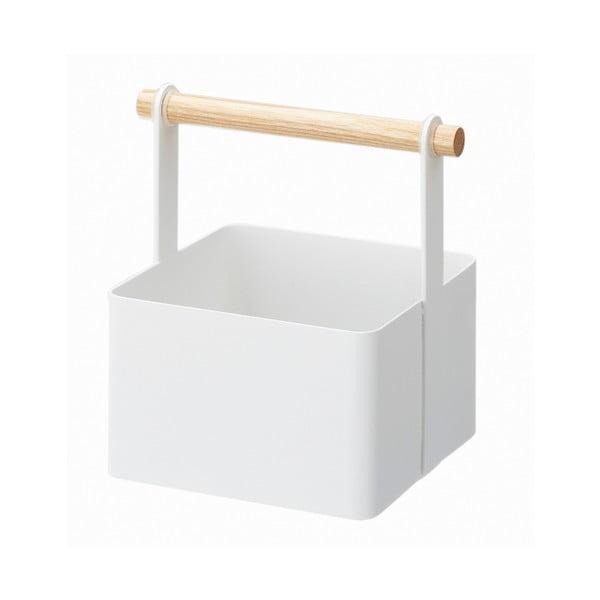 Tosca Tool Box fehér multifunkciós tárolódoboz bükkfa részletekkel, hossz 16cm - YAMAZAKI