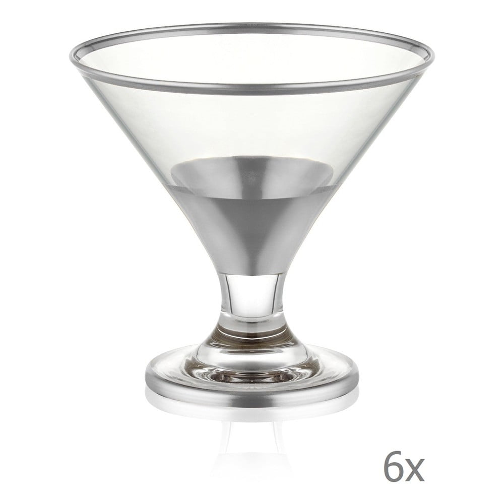 Sada 6 koktejlových skleniček Mia Glam Silver, 225 ml