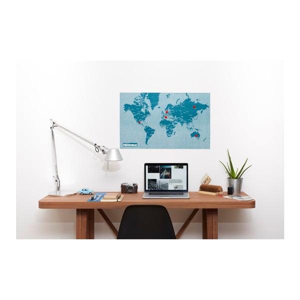 Hartă a lumii de perete Palomar Pin World, 126 x 68 cm, albastru