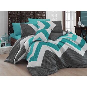 Lenjerie de pat și cearșaf pentru pat dublu Nazenin Home Kendy Blue, 200 x 220cm